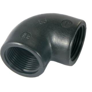 PP- Elbow 90° 2x Female thread - Black