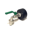 IBC Adapters S60x6 + RIV Brass Ball faucet with Hose tail (PE-HD)